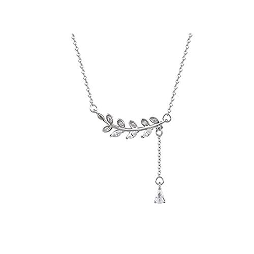 Collar de plata de ley 925 para mujer, borla de cristal, hoja, colgante de gota de agua, joyería elegante para fiesta