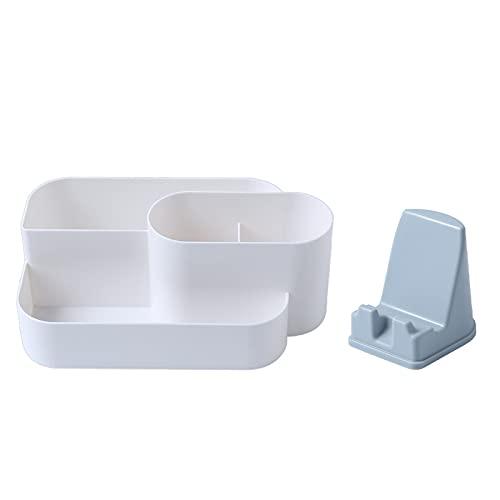 Compartimiento de escritorio Caja de almacenamiento Caja de almacenamiento Caja de maquillaje Organizador Tenedor de teléfono móvil para cómoda Conjunto de contenedores de almacenamiento de plástico