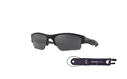 Oakley Flak Jacket XLJ OO9009 11-435 63MM Matte Black/Grey Polarized Rectangle Sunglasses for Men + BUNDLE with Oakley Accessory Leash Kit