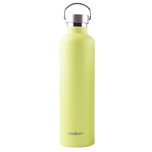 JKHOIUH Edelstahl Vakuum Insulaterd Wasserflasche Sport Outdoor-Saugnapf Keep Drinks Hot & Cold Vakuumisolierte Wasserflasche Edelstahl-Becher (Farbe : Yellow-1000ml)