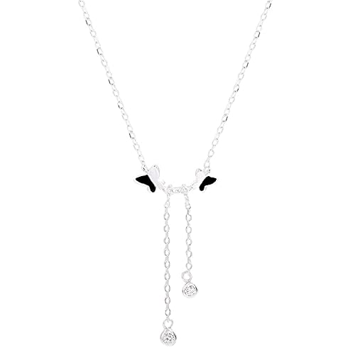 925 Sterling Silver Pendant Butterfly Tassel Crystal Zircon Angel Locket Collar Square Crystal Zircon 925 Sterling Silver Pendant Necklace Adecuado Para Hombres Y Mujeres Fashion Simple Birthday