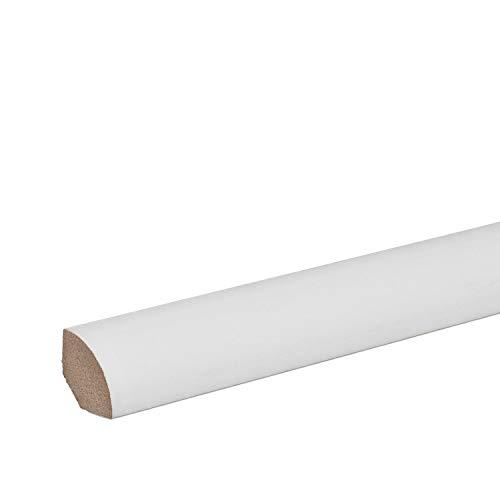 Viertelstab Abdeck- Abschluss- Sockelleiste MDF WEISS Folie 14x14mm [SPARPAKET] (10 Stück (23lfm))
