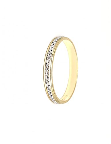 Anillo alianza oro 18 ct blanco o bicolor acabado biselado (ORO BLANCO Y AMARILLO, 6)
