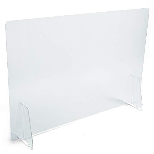 PLEXIDIRECT - Spuckschutz Plexiglas Schutzwand Thekenaufsatz Trennwand Büro Schreibtisch Acrylglas Büroschirm Niesschutz, 3mm Schirm, RAVI Tischfuß Plexi, 600 x 650 mm (BxH)