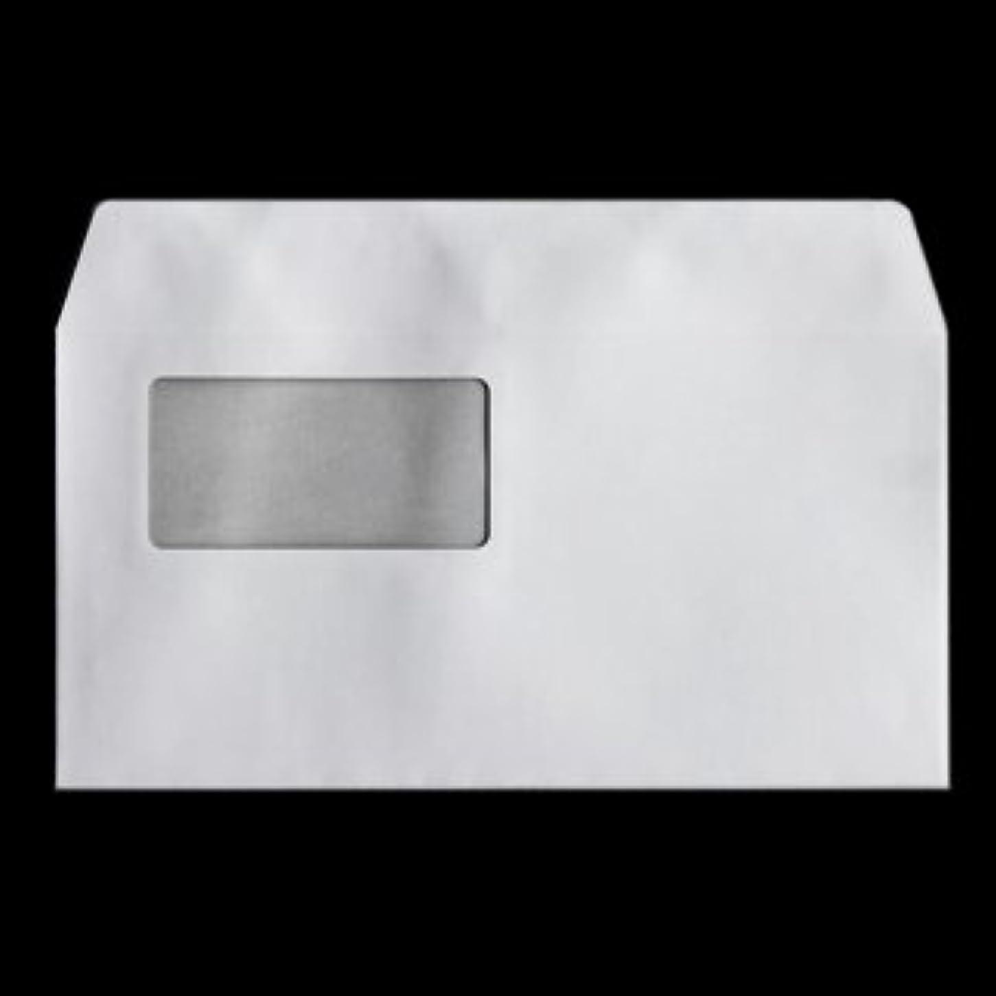 苦しむ特派員助けてハート 白封筒 カマス貼 洋長3 窓付封筒45×90mm 透けないコーティング パステル ホワイト 100g/m2 枠なし 200枚 yl1390