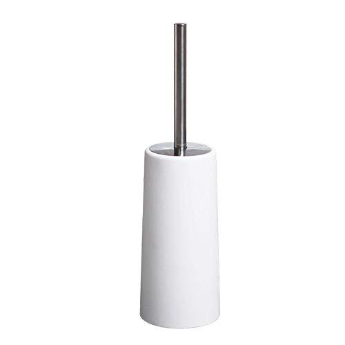 A/B Toilet Brush Set Bathroom Toilet Bowl Brushes- Stainless Steel Toilet Brush Holder Straight Handle Brush Corner Cleaning Toilet Brush Set-White