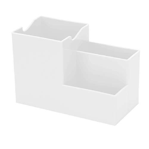 NUOBESTY 2 piezas de plástico organizador de escritorio de oficina organizador de lápiz organizador de escritorio de escritorio organizador de almacenamiento de escritorio (blanco)