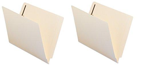 Smead End Tab Fastener File Folder, Shelf-Master Reinforced Straight-Cut Tab, 2 Fasteners, Letter Size, Manila, 50 per Box (34115) (Pack of 2)