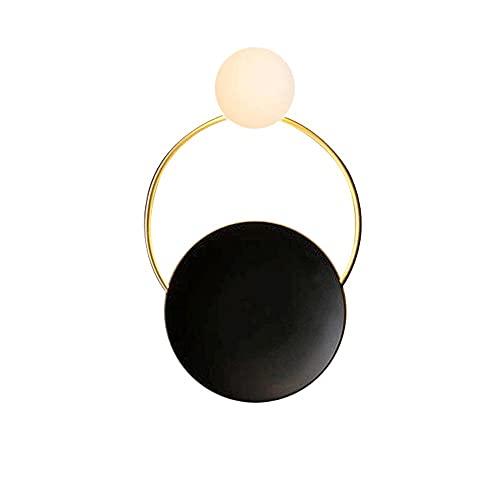 Lámpara de pared de metal redondo, chasis de hierro forjado negro + anillo de decoración, pantalla de cristal esférico blanco, luces de vidrio creativo post-moderno para foyer, galería, dormitorio