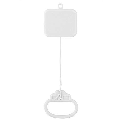 Caja de música con cuerda para tirar, reloj de cuerda para dormir, campana, educación musical, juguete de regalo, color blanco