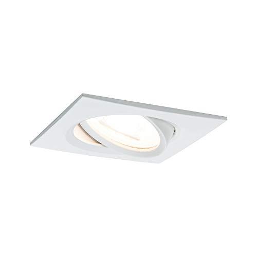 Paulmann 93617 Kit encastrés Premium Nova, carré, orientable, LED 1x7W, 230V, GU10, 51mm, Blanc mat /Alu zinc