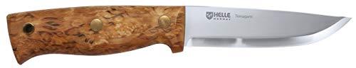 Helle Temagami, Outdoormesser, Dreilagenstahl, rostfrei, Griff aus Maserbirke, Lederscheide mit Gürtelschlaufe