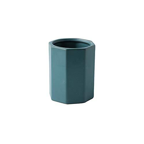 FLZTCEG Pure Color Octagonal Stifthalter kosmetische Bürsten-Feder Keramik Lagerung Eimer Schreibtisch Aufbewahrungsbox Literary Stifthalter Praktische Lagerung Eimer Desktop-Dekoration (Grün, Blau)