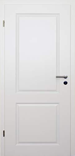 HORI® Zimmertür Komplettset mit Zarge und Türdrücker I Innentür weiß lackiert mit zwei Füllungen I Höhe 198,5 cm I Anschlag, Breite und Wandstärke wählbar I DIN links I 1985 x 860 x 140 mm