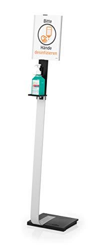 Durable 589223 Bodenständer mit Desinfektionshalter und drehbarer Infotafel A4, für Desinfektionsmittelflaschen bis 88 x 88 x 215 mm, silber