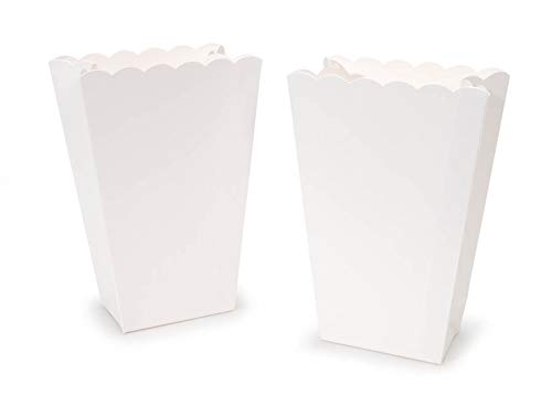 Scalloped Edge Popcorn Favor Boxes in White - 6 ct