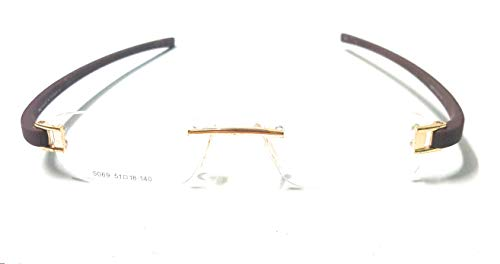 R.S.Inc Rimless Tag eye,Light weight, frame/eyeglass/Spectacle Golden-Brown