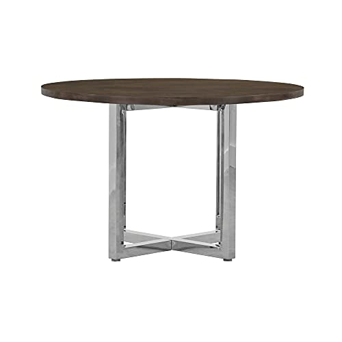 Modus Amalfi 5PC 48' Round Table w Wood Top in Taupe & 4 Metal Back Chair in White