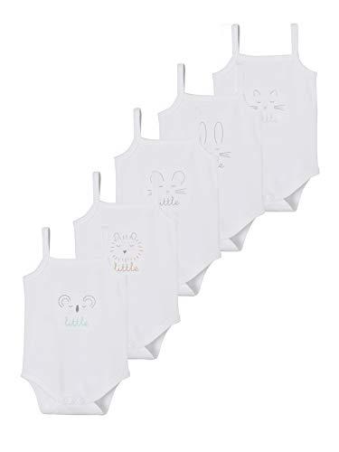 Vertbaudet Lot de 5 Bodies bébé Fille imprimés à Fines Bretelles Blanc 24M - 86CM