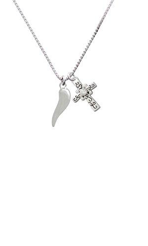 "Delight Jewelry Good Luck Italian Horn Scroll Cross Necklace, 18""+2"""