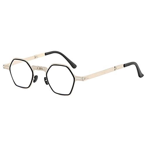 DZQUY Gafas de Lectura de polígonos Gafas de Lectura de Moda Marcos Ligeros y Lentes de Bloqueo de luz Azul Lentes para computadoras Lectura Lectura Escritura Costura de Costura,Plata,+2