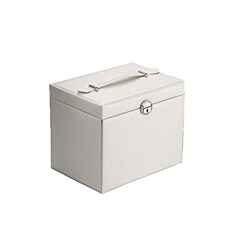 ZYCW Joyero Grande, Joyeros Mujer Organizador, Caja Joyero Viaje Jewelry Box con Cerradura 4 Cajones con Espejo, Caja de Joyería de Viaje, para Collares Pendientes Aretes Pulseras (Cream-Colored)