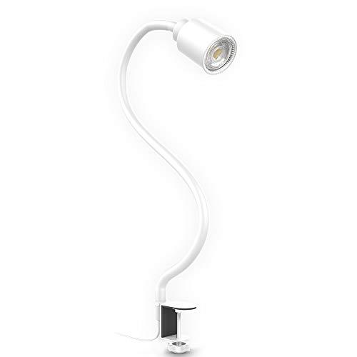 B.K.Licht LED Klemmleuchte inkl. 5W GU10 Leuchtmittel I Warmweiß I flexibler Schwanenhals I Schwenkbar I Drehbar I Kippschalter I Metall I Weiß