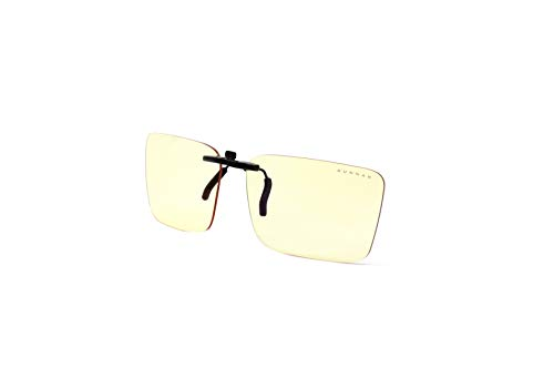 GUNNAR gaming and computer glasses | Clip On Amber Lens - WITHOUT Frame - Fits Most Frames | Patented lens, 65% blue light & 100% UV light protection