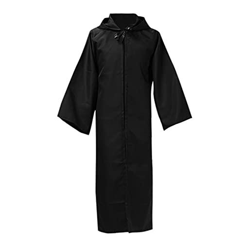 Xisimei Disfraz de monje medieval con capucha para adultos, Negro , S