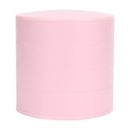 Omabeta Caja de joyería de diseño Giratorio de 360 °, ABS + Acero Caja de Almacenamiento de joyería de Cuatro Capas Redonda Multifuncional Caja organizadora de colección con Tapa(Rosa)