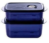 Tupperware Vent N Serve 2pc Medium Set Indigo/Mist, Blue