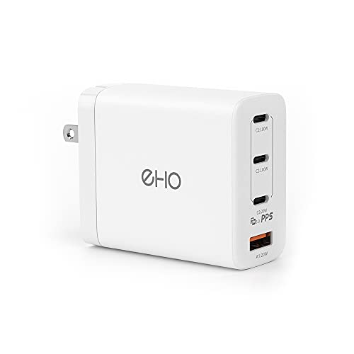 """USB C Wall Charger, EHO 100W PD 3.0 GaN Type C Fast Charger Foldable Power Adapter 3 USB C+1 USB Port Charging Block for Most Laptops, MacBook Pro 13""""&16"""", for iPhone 13, 12, iPad Mini/Air/Pro, White"""