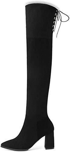GYMS Botas sobre Las Rodillas para Mujer, Botas Elásticas Sexys De Invierno, Botas Elásticas Finas Más Botas De Terciopelo para Mujer De Tacón Alto, Tacones Altos Sexys De 7,5 Cm, Negro,34