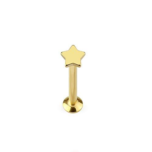 Paula & Fritz® UNIVERSAL Stud Labret Monroe Cartilage Gold roségold schwarz Silber Spitze Stern Edelstahl Chirurgenstahl 316L LSI27-1606_GD
