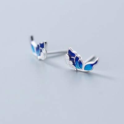 Caliente S925 plata esterlina moda simple creativo simular azul mariposa Stud pendientes joyería para mujer