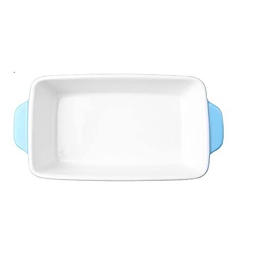 1 Piece Baking Sheet Binaural Ceramic Bakeware Microwave Oven Dedicated 600ml Blue