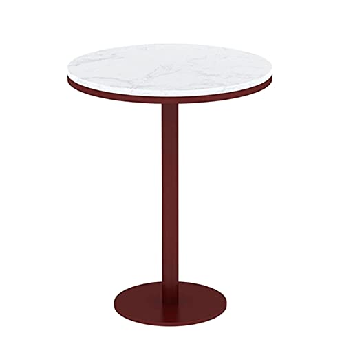 ACUIPP Small Dining Table, Bedroom Lounge End Table Beauty Shop Accent Side Table Marble Round/Square Coffee Table with Round Base,Bury-A,60 * 60 * 75Cm