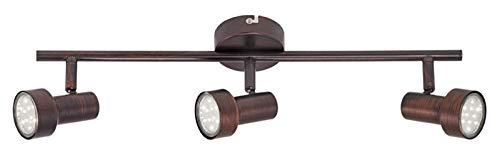 Briloner Leuchten LED Deckenleuchte, Deckenlampe mit 3 dreh-und schwenkbaren Spots, Fassung: GU10, inkl. 3x3W, Metall, Maße: 48x12 cm, Farbe: Kupfer-Antik