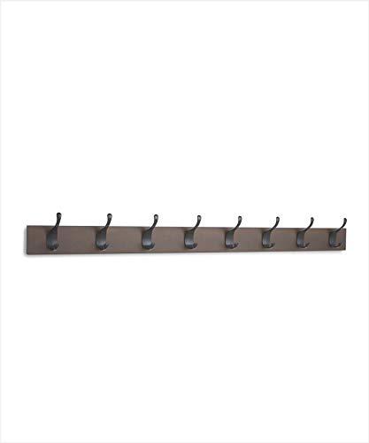 AmazonBasics - Perchero de madera de pared, 8 ganchos modernos 92 cm, Café, 2 unidades