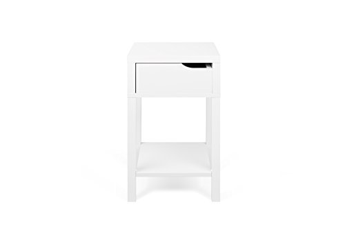 TemaHome Basics Table de Chevet Table de Nuit, 34 x 34 x 58,7 cm, laqué Blanc Mat