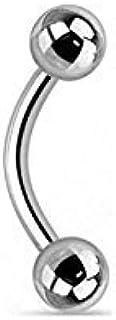 Tapsi´s Coolbodyart® Piercing per sopracciglio, in titanio, argento, curvo, lunghezza barretta: 6-12 mm, dimensioni sfera:...