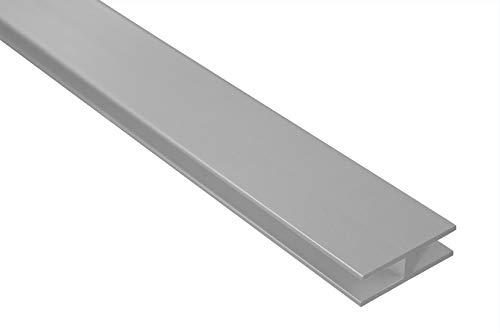 2 Meter | H-Profil | Alu | eloxiert | 40x12mm | Effector | B91 | silber