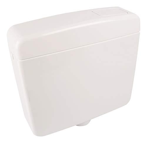 Calmwaters® Schmaler Spülkasten mit Spül-Stopp-Funktion, 6-9 Liter Spülmenge, Aufputzspülkasten WC schmal, Spülkasten Weiß für Aufputz-Montage, mit Start-Stopp-Taste, Modell Elements, 29HB2715