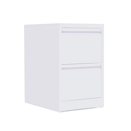 OFITURIA ® Archivador Metálico Organizativo De Oficina Blanco con 2 Cajones para Carpetas DIN A4 Y Folio, Documentos con Llave, 62 X 46 X 72 ✅