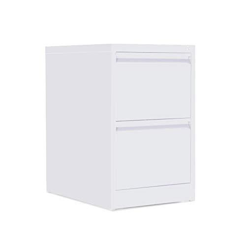 OFITURIA ® Archivador Metálico Organizativo De Oficina Blanco con 2 Cajones para Carpetas DIN A4 Y Folio, Documentos con Llave, 62 X 46 X 72