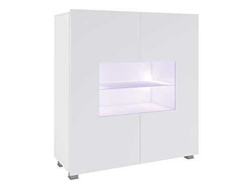 Mirjan24 Kommode Calabrini BR01 mit 2 Türen, Sideboard, Anrichte, 100x107x35 cm, Highboard, Mehrzweckschrank, Wohnzimmer (Weiß/Weiß Hochglanz, mit Blauer LED Beleuchtung)