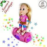 ANJ Kids Toys - Lovely Girl Doll Toy for Kids; Battery Operated Girls Doll Riding Hover Board; Rolling, Rotating, Music and Beautiful Flashing Lights; Best Doll Toy for Girls