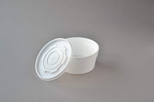 Suppenschalen EPS mit Deckel (12FC), 340 ml weiß isolierte Suppenterrine Einweg Schale Suppenbecher Take Away Suppenbehälter Styropor Thermoschale Thermobecher (500 Stück)