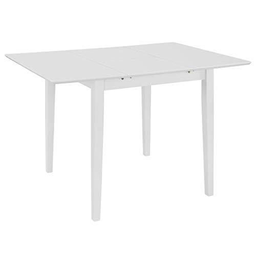 vidaXL Extendable Dining Table Space-saving Square Home Kitchen Breakfast Dining Room Dinner Stand Desk Furniture White 80-120cm MDF
