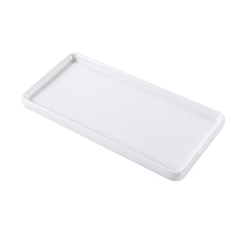 TOPBATHY Bathroom Storage Trays Porcelain Mini Vanity Tray Jewelry Dish Ring Dish for Tissues Candles Soap Towel Plant Size Large (White)